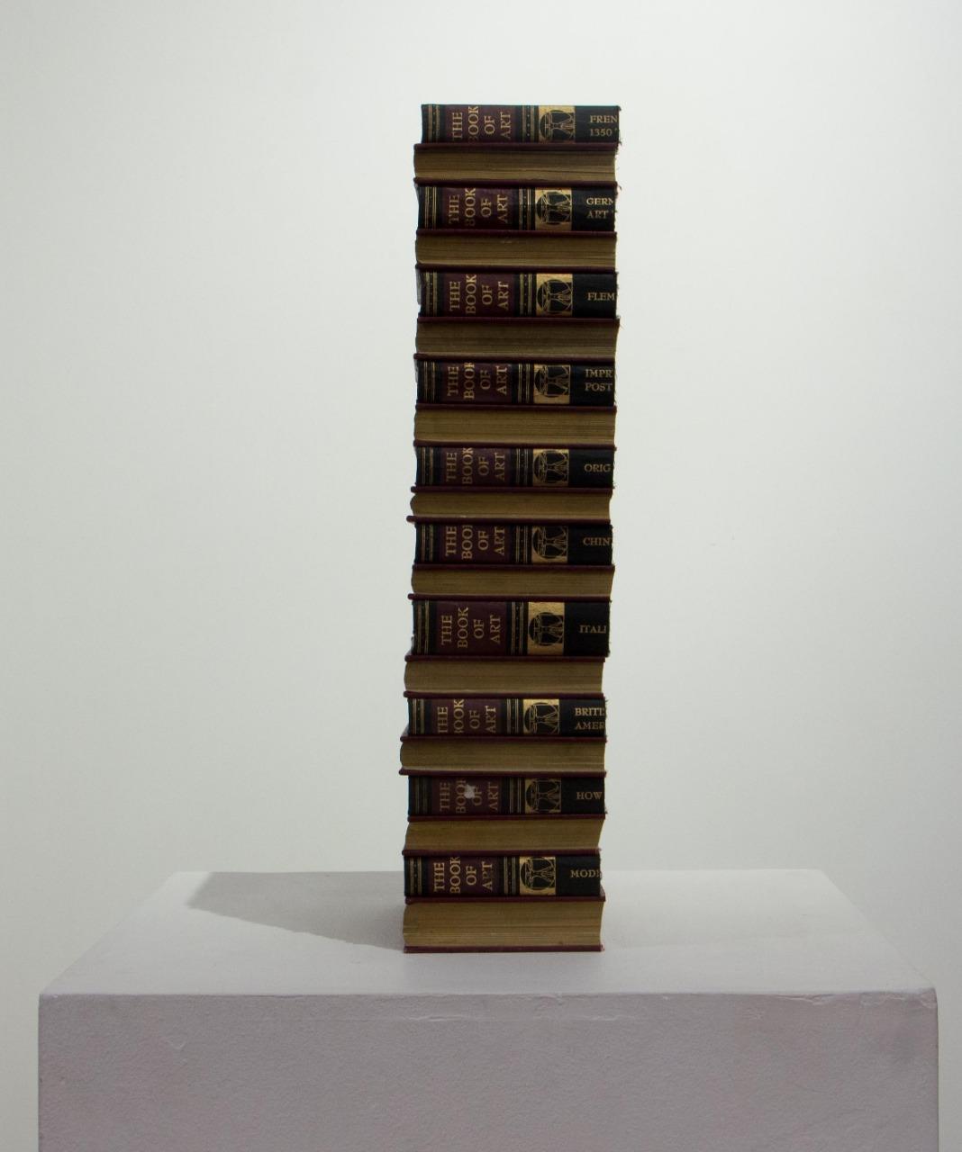 1/3 de la Historia, Sergio Zamora, 2018. Arte objeto, 12 x 52 x 22cm, livros.