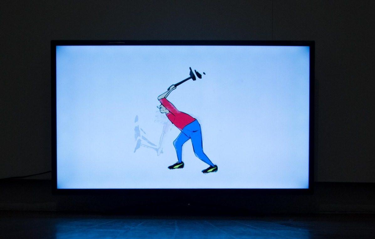 Maestro Triste, Gonzalo Aguirre, 2017. Animação Tamanho adaptável à tela LED, 0100 min (loop), Vídeo HD c áudio estéreo exibido em TV LED 50B.