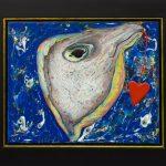 Ave-peixe, Eli Heil, 1994. Técnica mista sobre aglomerado de polpa de eucalipto, 65x55cm.