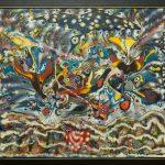 Céu, terra e mar, Eli Heil, 1993. Técnica mista sobre aglomerado de polpa de eucalipto, 151x136,5cm.