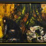 Caveira, macaco e árvore, Fernando Lindote, 2019. Óleo sobre tela, 57,3x47,3cm.
