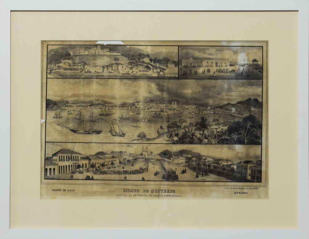 Cidade do Desterro, Joseph Bruggemann, circa 1865. Litogravura, 64,3x49,7cm