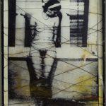 Estudo preparatório para a Divina Coméria - Intolerância [Sara], Paulo Gaiad, 2001. Fotografia, arame, pigmento e vidro em caixa de ferro, 55,5x77,5cm.