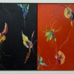 Flores de Santo Amaro [díptico], Fernando Lindote, 2019. Óleo sobre tela, 106x56cm.