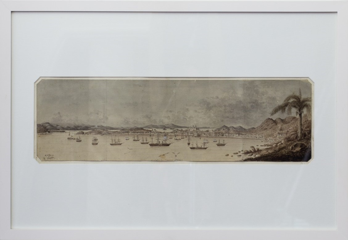 N.S. do Desterro – Insel Sta. Catharina, Heinrich Kreplin, circa 1861. Lápis e aguada sobre papel, 69,5x48cm.
