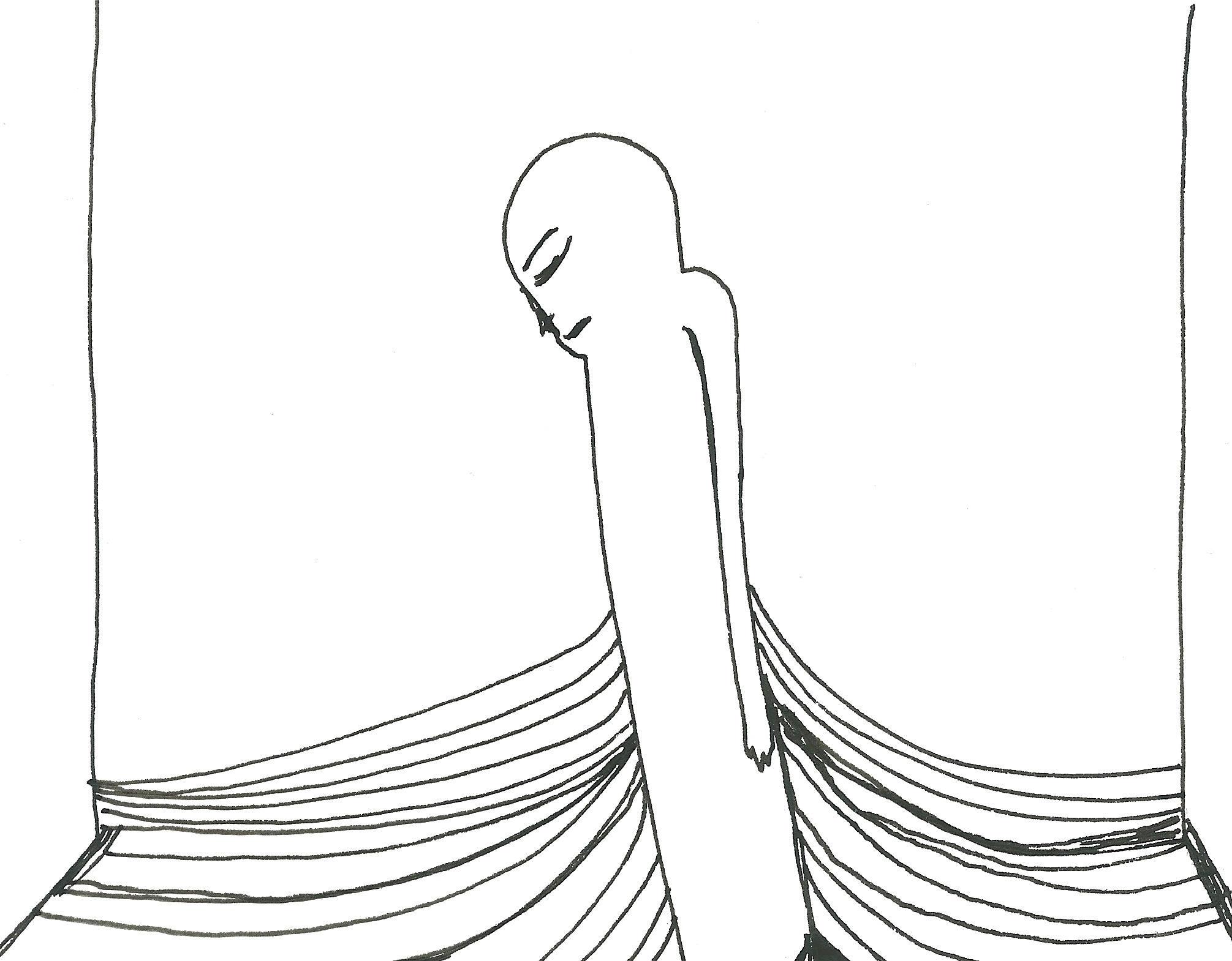Mergulho, 2017. Nanquim sobre papel, 17x15cm.