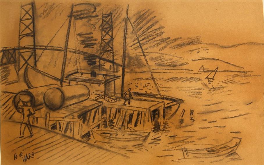 [12] Ponte Hercilio Luz, sem data. Martinho de Haro [1907-1985]. Coleção Catarina. Fonte Ylmar Corrêa Neto.