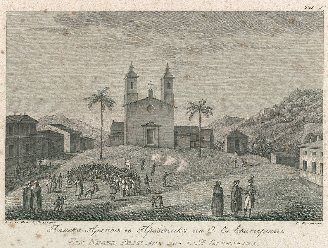 [4] Festa de negros na Ilha de Santa Catarina, 1806. Wilhelm Gottlieb Tilesius von Tilenau [1769-1857]. Coleção Catarina. Fonte Ylmar Corrêa Neto.