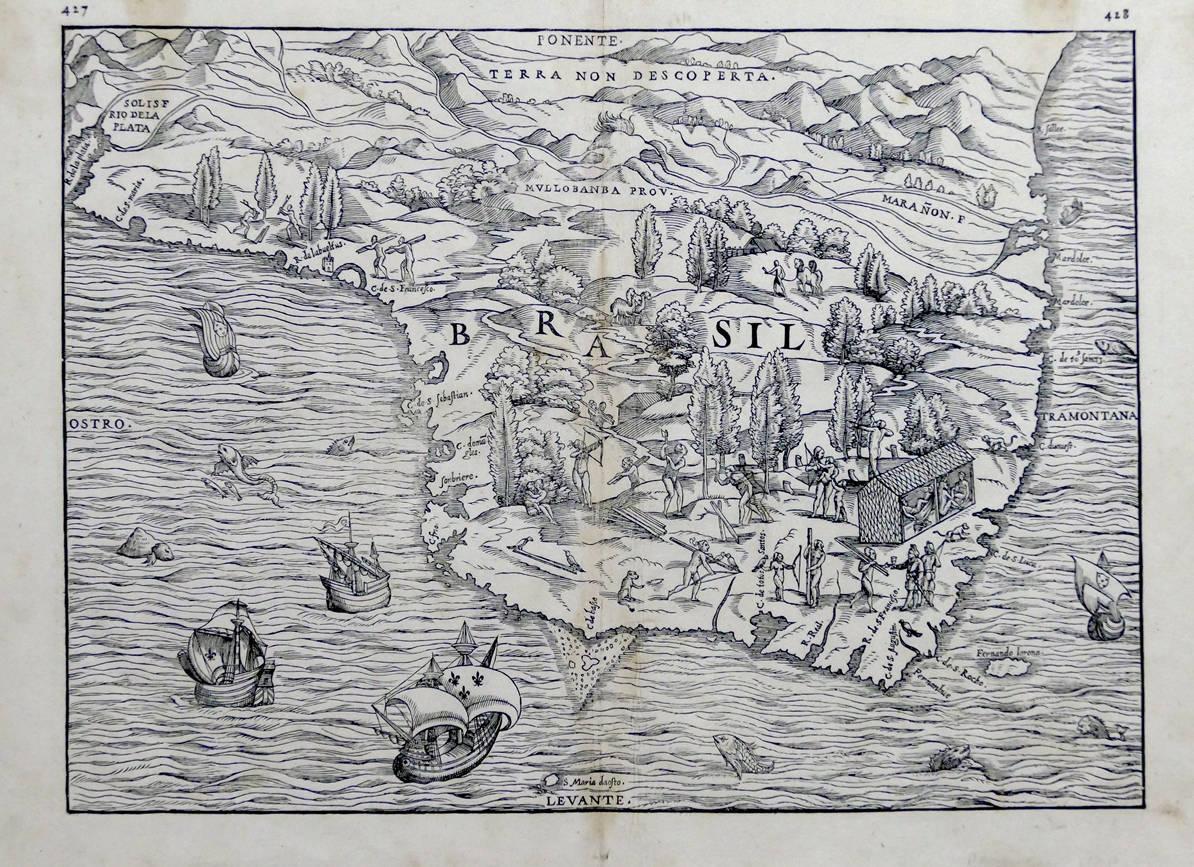 [47] Brasil, 1556. Giacomo Gastaldi [1500-1566]. Coleção Catarina. Fonte: Ylmar Corrêa Neto.