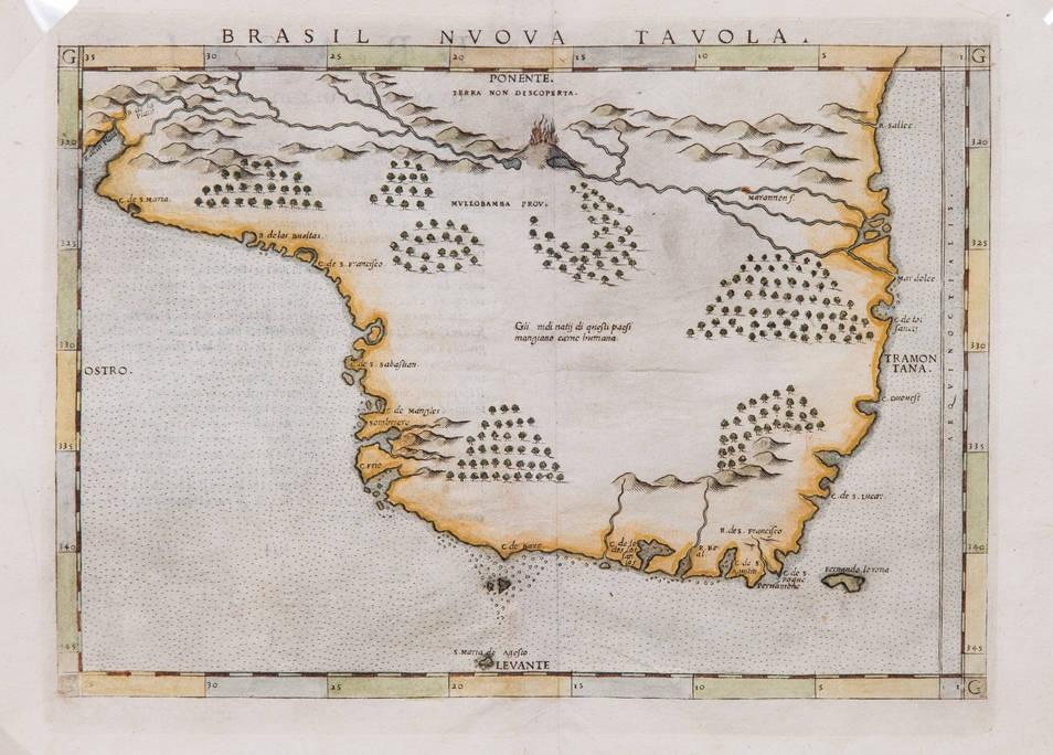 [48] Brasil Nuova Tavola, 1561. Girolano Ruscelli [1518-1566], segundo Giacomo Gastaldi. Coleção Catarina. Fonte: Ylmar Corrêa Neto.