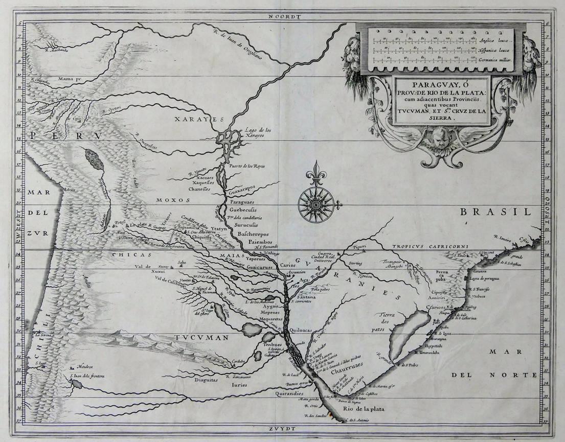 [49] Paraguay, o Prov. de Rio de la Plata: cum adiacentibus Provinciis quas vocant Tucuman, et Sta. Cruz de la Sierra, circa 1600. Coleção Catarina. Fonte: Ylmar Corrêa Neto.