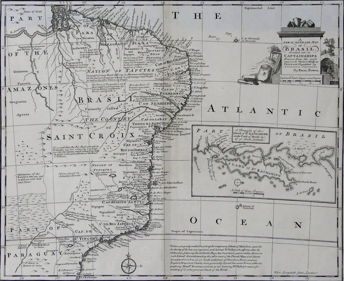 [51] A new and accurate map of Brazil, 1747. Emanuel Bowen [circa 1694-1767]. Coleção Catarina. Fonte: Ylmar Corrêa Neto.