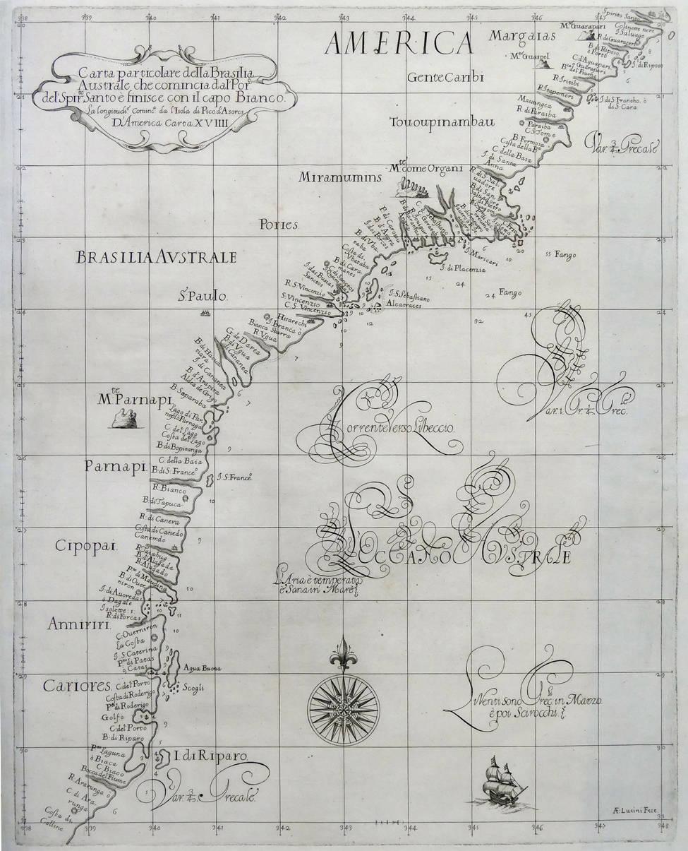 [53] Carta particolare della Brasilia Australe che comincia dala Poro del Spirito Santo e finisce con il capo Bianco. Sir Robert Dudley [1574-1649]. Coleção Catarina. Fonte: Ylmar Corrêa Neto.