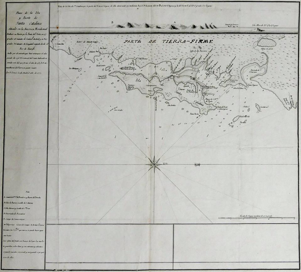 [54] Plano de la Isla y Puerto de Santa Catalina situado en la América Meridional, 1777.Coleção Catarina. Fonte: Ylmar Corrêa Neto.
