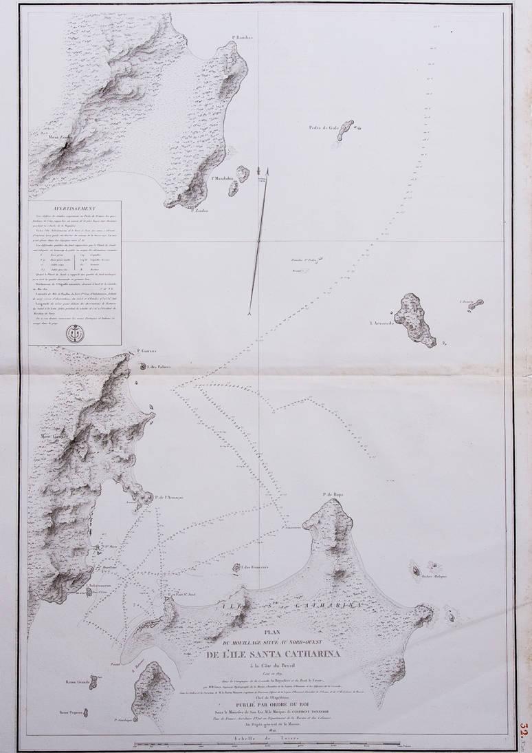 [55] Plan du mouillage situé au Nord Ouest de l'Ile Santa Catharina à la Côte du Brésil levé en 1819 dans la Campagne de la Corvette La Bayadère et du Brick Le Favori, 1822. Coleção Catarina.