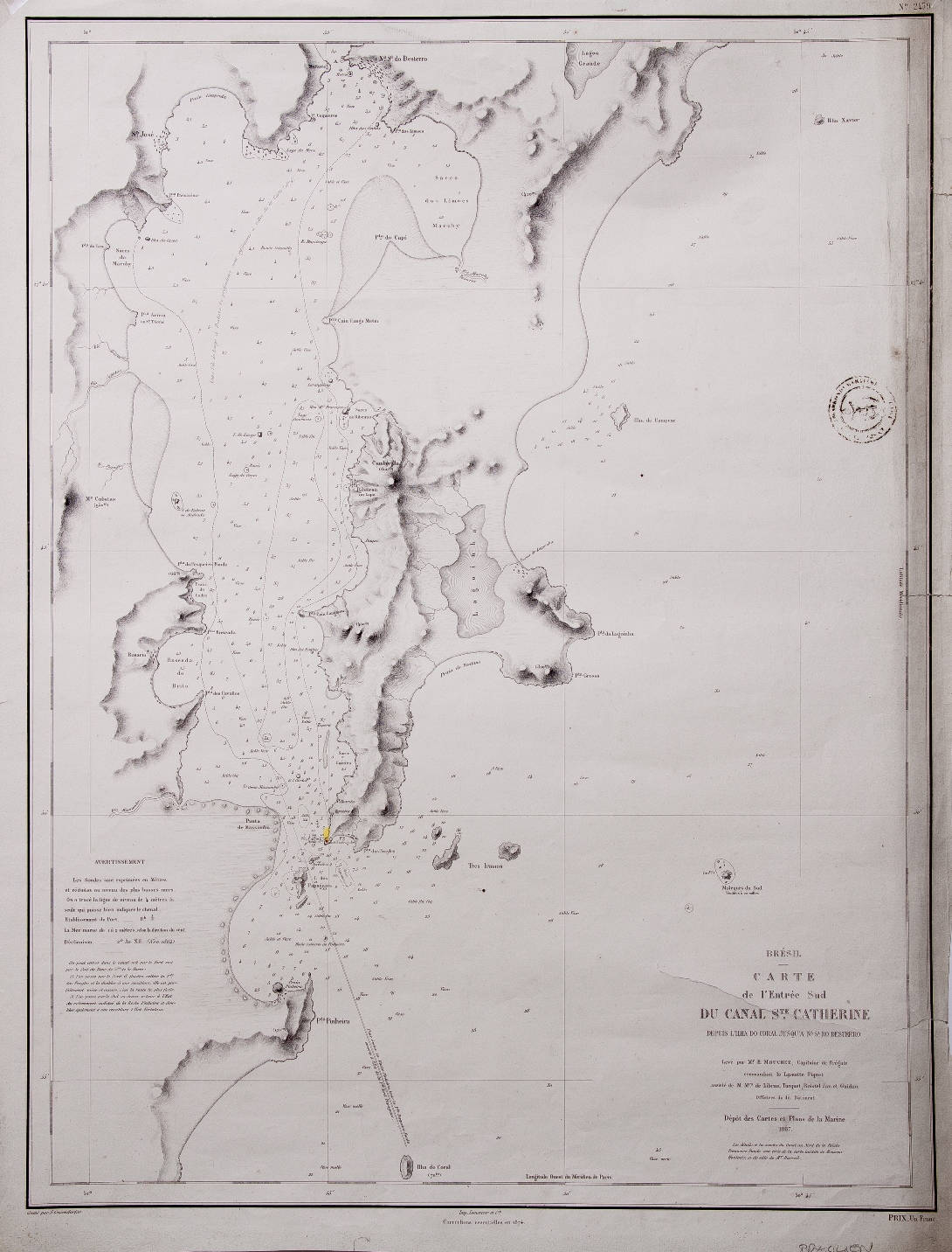 [57] Carte de L'Entree Sud du Canal Ste. Catherine depuis L'Ilha do Coral jusqu'a Na. Sa. do Desterro, 1867. E. Mouchez. Coleção Catarina. Fonte: Ylmar Corrêa Neto.