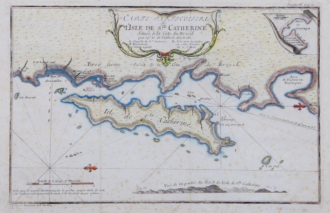 [58] Carte particuliere de L'Isle de Ste. Catherine, 1712. Amedee Francois Frezier [1682-1773]. Coleção Catarina. Fonte: Ylmar Corrêa Neto.