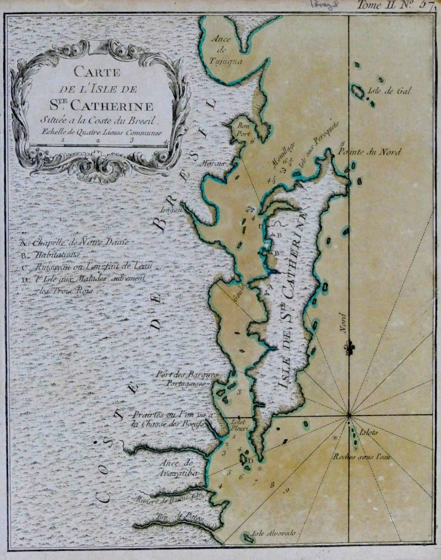 [59] Carte de I'Isle de St. Catherine situe a la Coste du Bresil, 1764. Jacques Nicolas Bellin [1703-1772]. Coleção Catarina. Fonte: Ylmar Corrêa Neto.