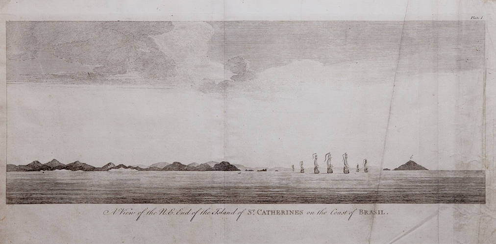 [60] A View of the N.E. End of the Island of St. Catherines on the Coast of Brasil, 1740. Coleção Catarina. Fonte: Ylmar Corrêa Neto.