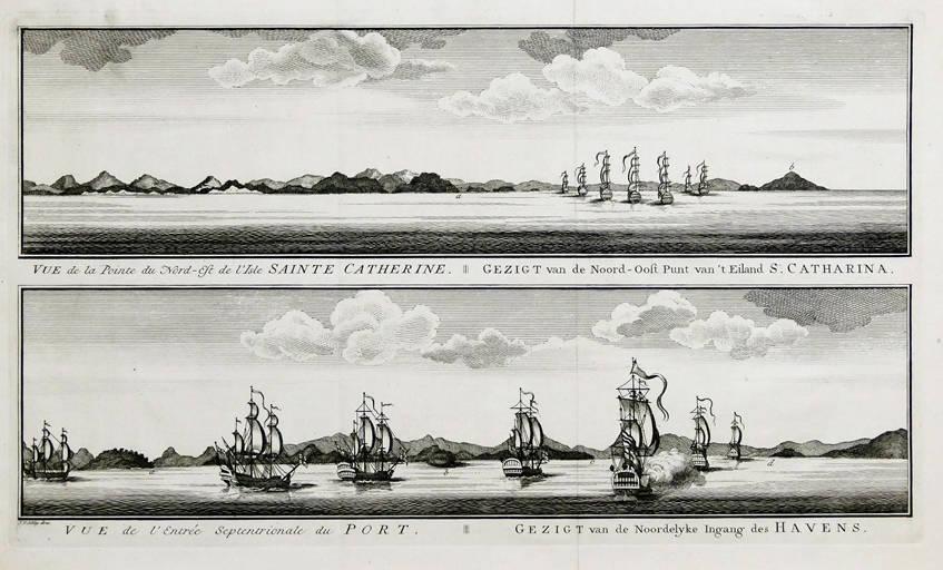 [62] Gezigt van de Noord-Oost Punt van't Eiland S. Catharina Gezigt van de Nooedelyke Ingang des Havens, 1740. Coleção Catarina. Fonte: Ylmar Corrêa Neto.