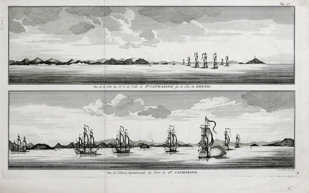 [63] Vue de la Côte du N. E. De l'Isle de Ste. Catharine sur la Côte de Bresil Vue de l'Entrée Septentrionale du Port de Ste. Catharine, 1740. Coleção Catarina. Fonte: Ylmar Corrêa Neto.