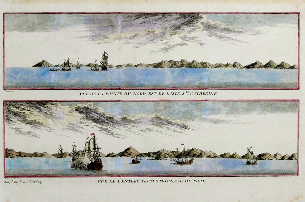 [64] Vue de la pointe du Nord Est de l'Isle de Ste. Catharine Vue de l'Entrée Septentrionale du Port, 1740. Coleção Catarina. Fonte: Ylmar Corrêa Neto.